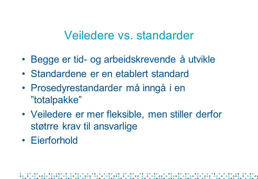 Veiledere vs. standarder