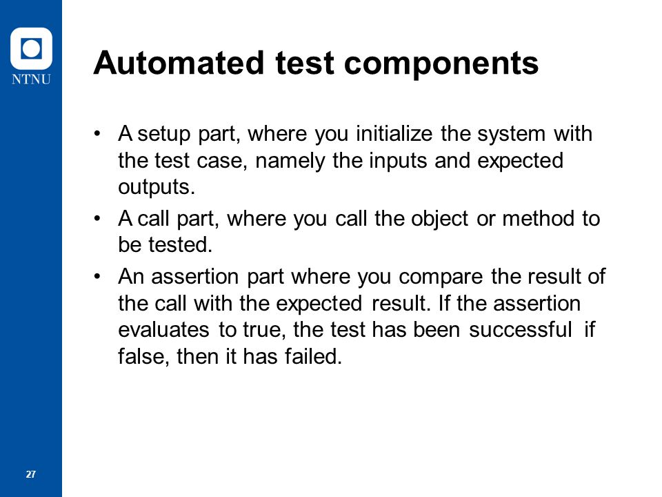 Automated test components
