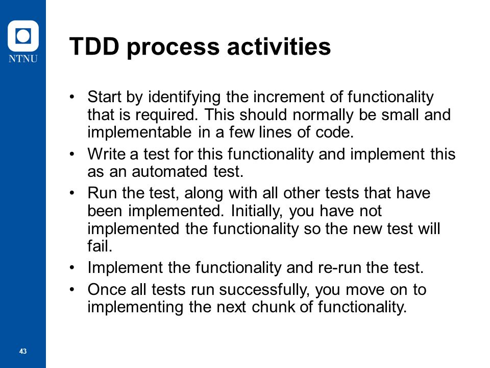 TDD process activities