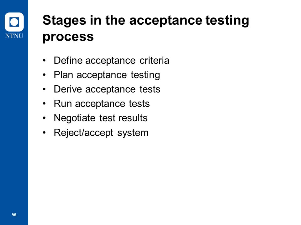 Stages in the acceptance testing process