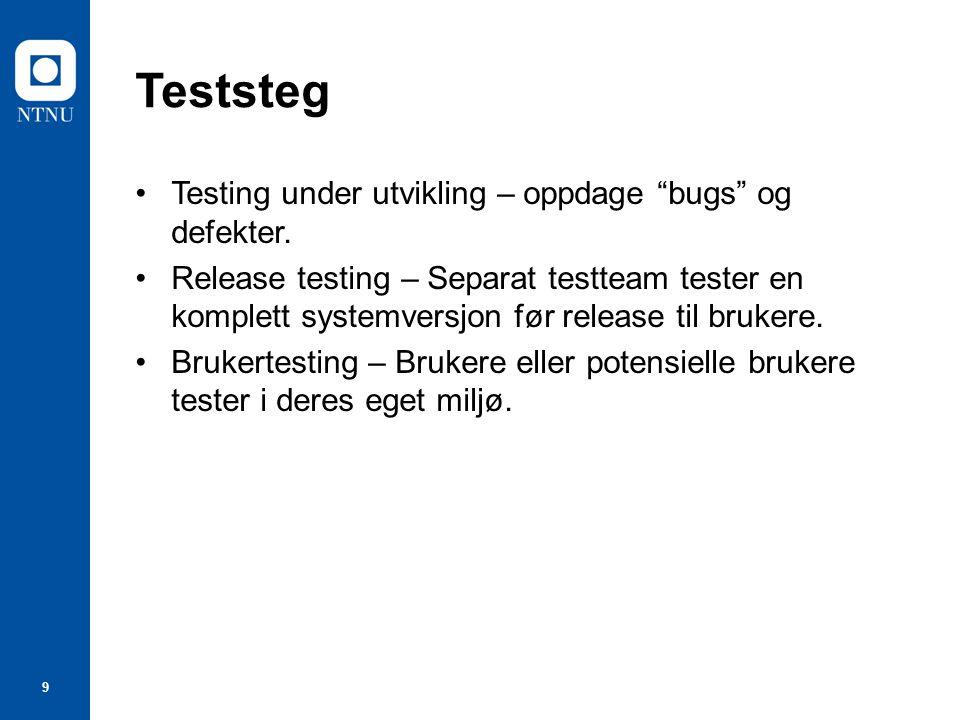 Teststeg Testing under utvikling – oppdage bugs og defekter.