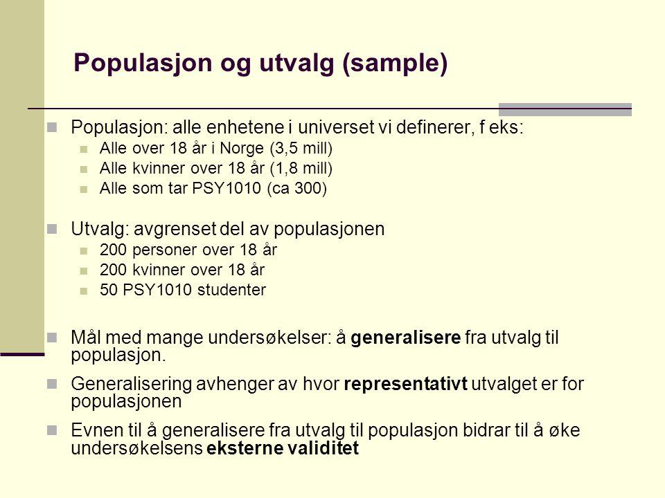 Populasjon og utvalg (sample)