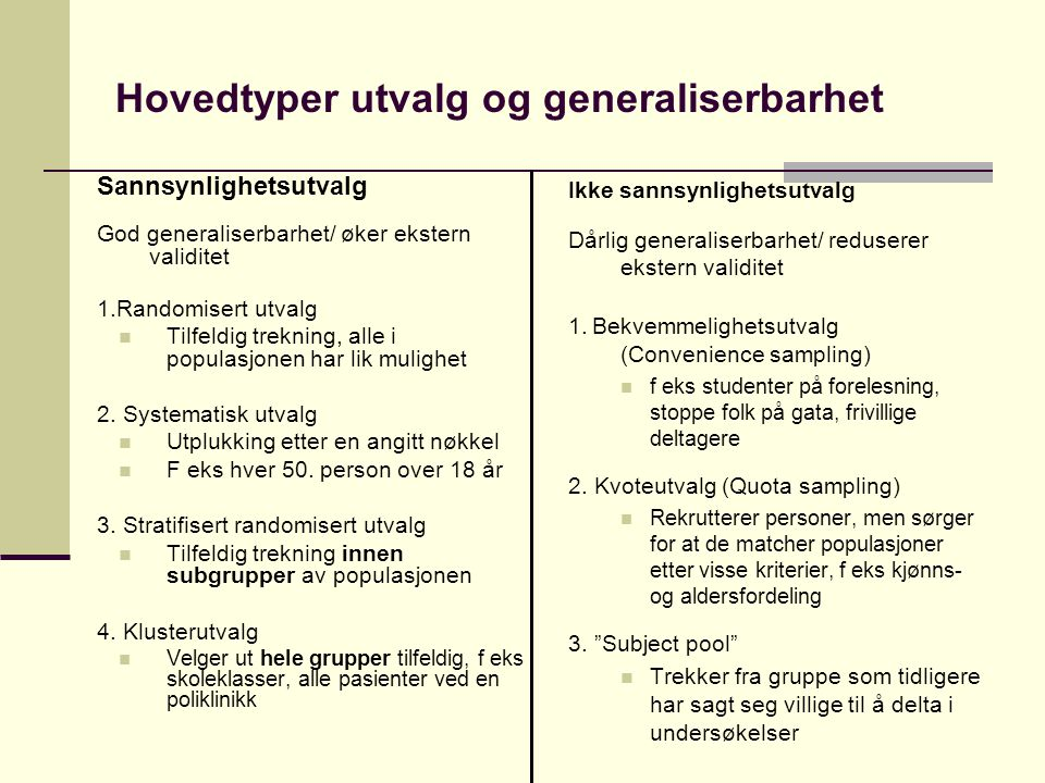 Hovedtyper utvalg og generaliserbarhet