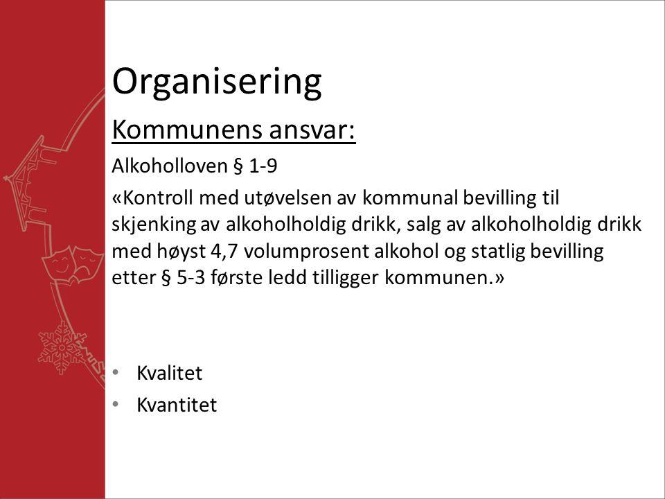 Organisering Kommunens ansvar: Alkoholloven § 1-9