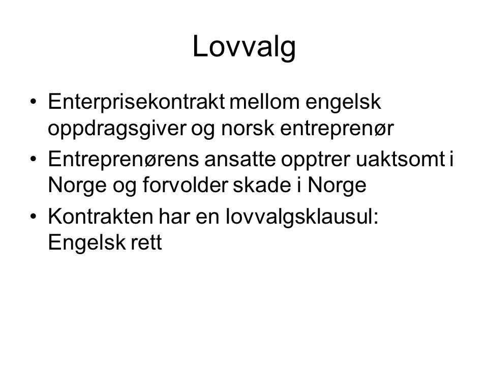 Lovvalg Enterprisekontrakt mellom engelsk oppdragsgiver og norsk entreprenør.
