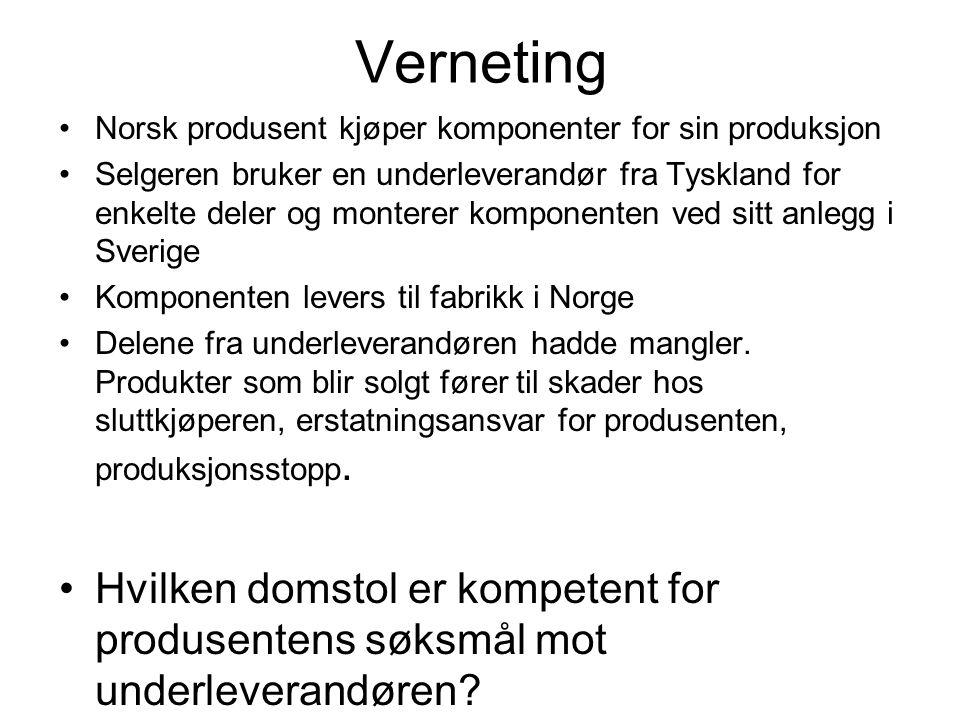 Verneting Norsk produsent kjøper komponenter for sin produksjon.