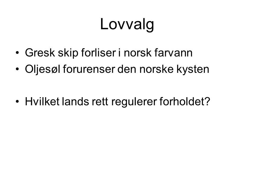 Lovvalg Gresk skip forliser i norsk farvann