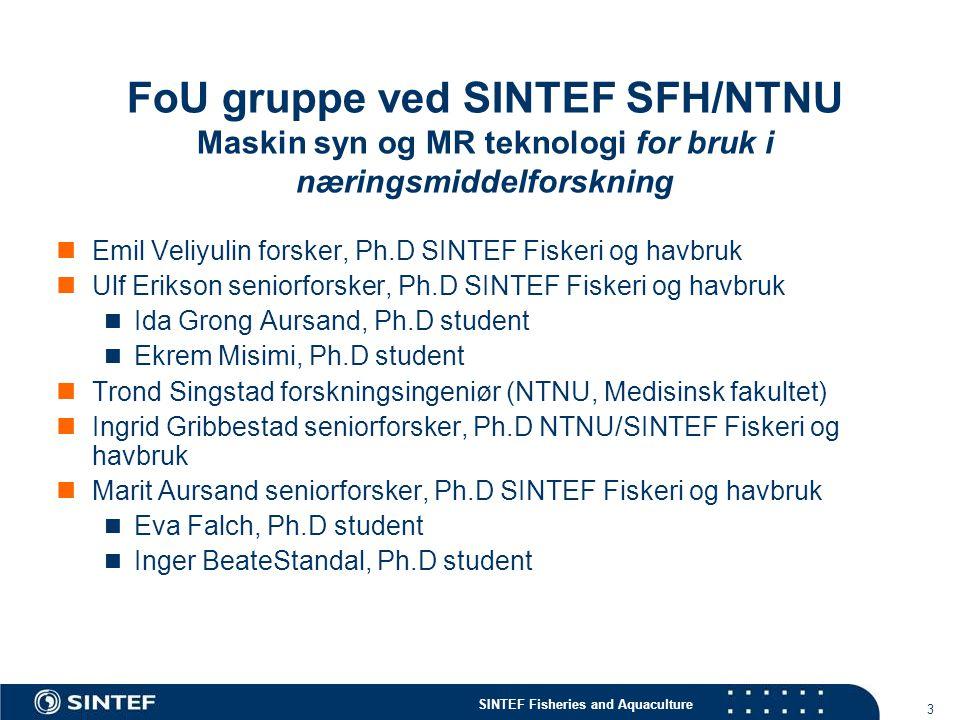 FoU gruppe ved SINTEF SFH/NTNU Maskin syn og MR teknologi for bruk i næringsmiddelforskning
