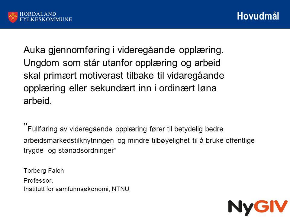 Hovudmål Auka gjennomføring i videregåande opplæring. Ungdom som står utanfor opplæring og arbeid.