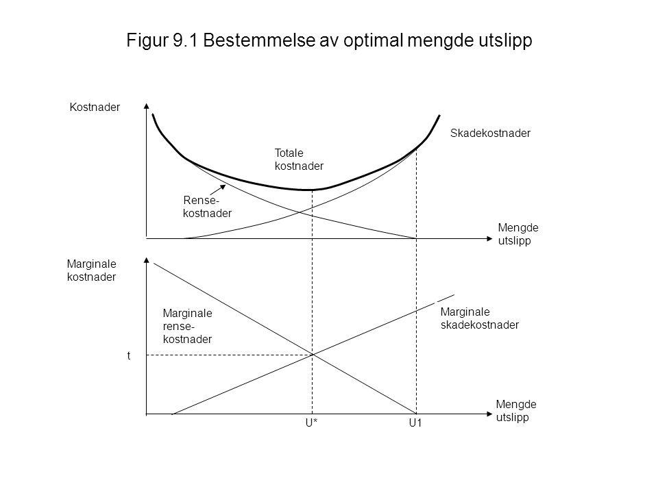 Figur 9.1 Bestemmelse av optimal mengde utslipp