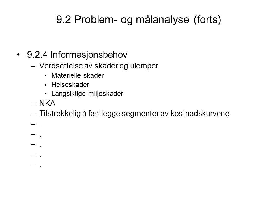 9.2 Problem- og målanalyse (forts)