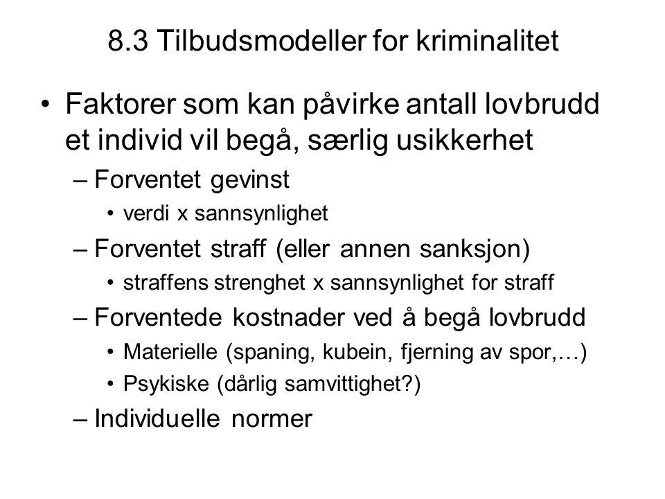 8.3 Tilbudsmodeller for kriminalitet