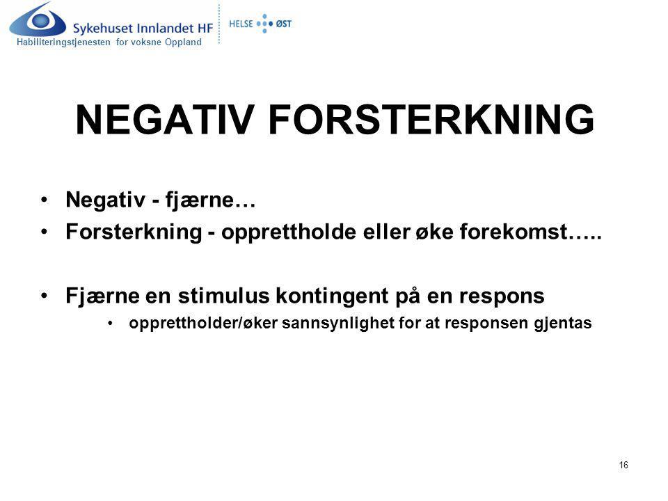 NEGATIV FORSTERKNING Negativ - fjærne…
