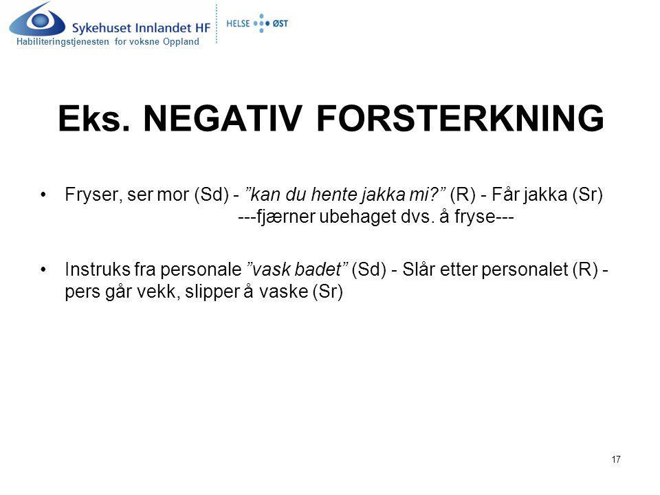 Eks. NEGATIV FORSTERKNING
