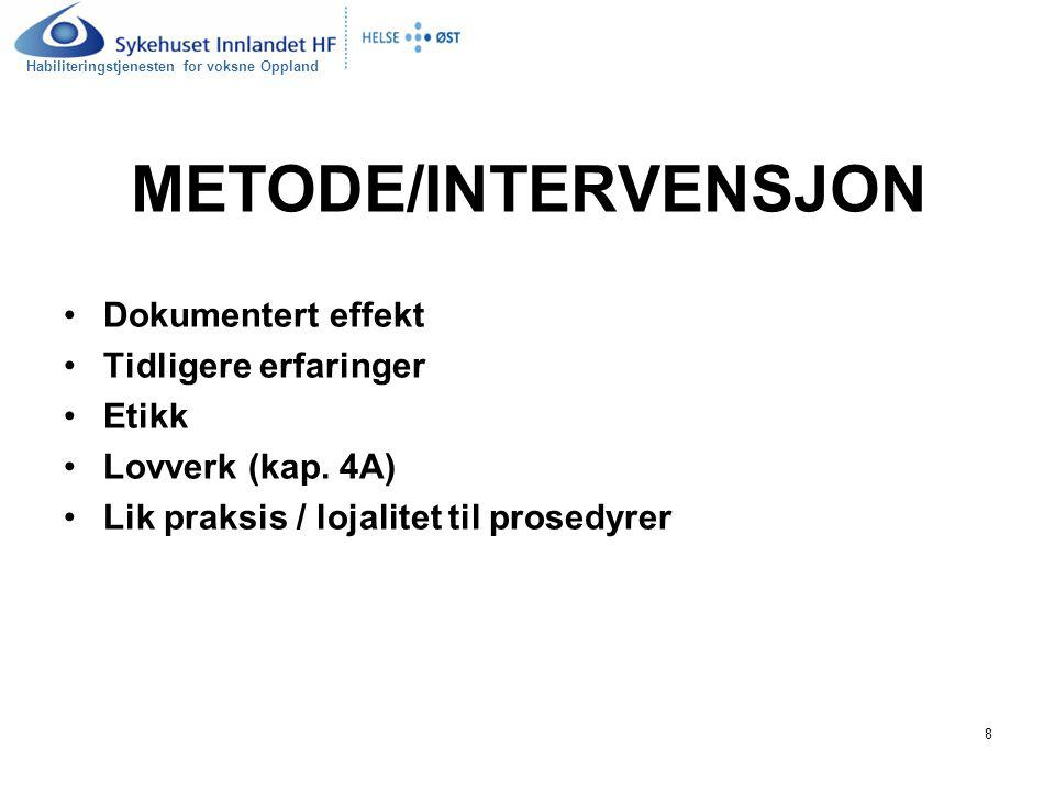METODE/INTERVENSJON Dokumentert effekt Tidligere erfaringer Etikk