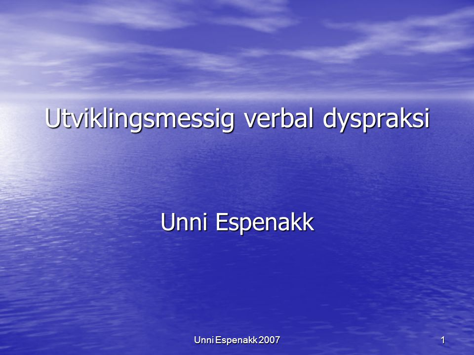 Utviklingsmessig verbal dyspraksi