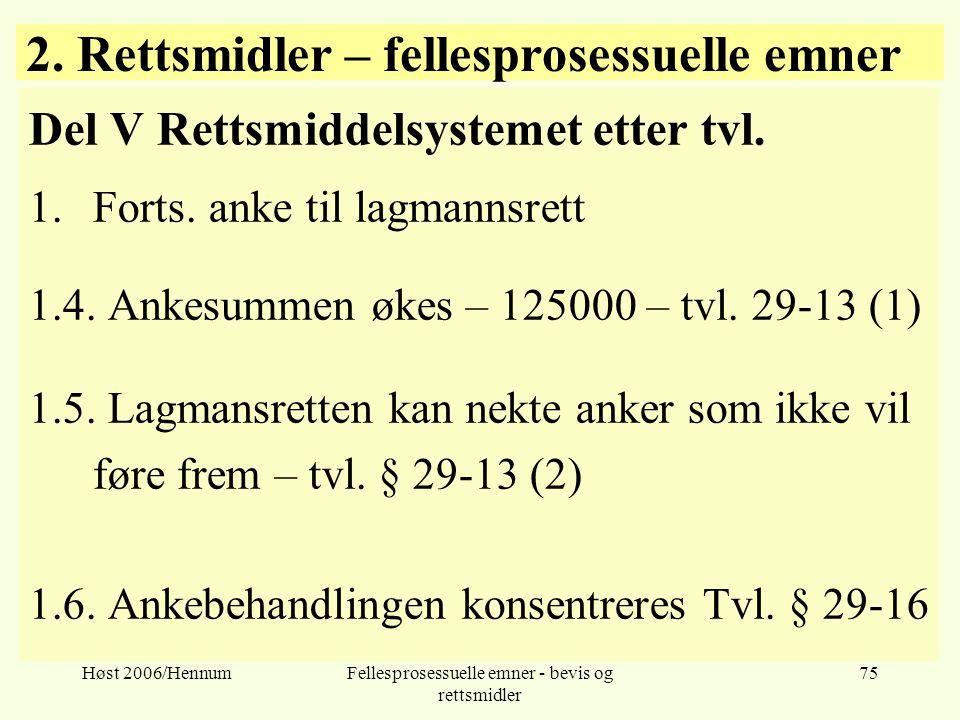 2. Rettsmidler – fellesprosessuelle emner