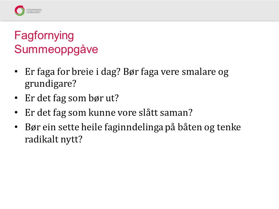 Fagfornying Summeoppgåve