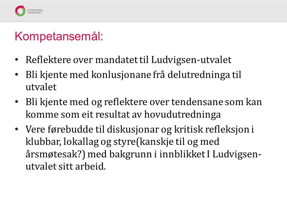 Kompetansemål: Reflektere over mandatet til Ludvigsen-utvalet