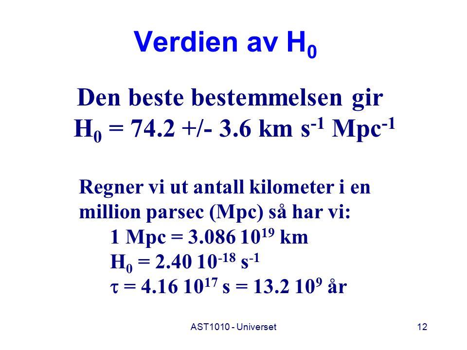 Verdien av H0 H0 = 74.2 +/- 3.6 km s-1 Mpc-1