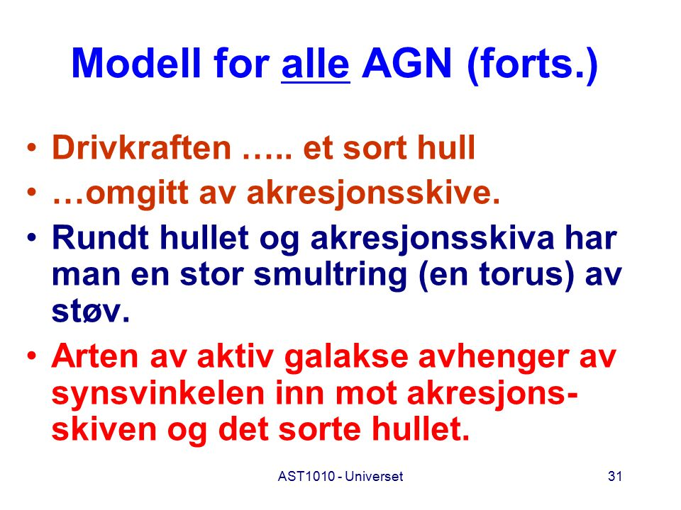 Modell for alle AGN (forts.)