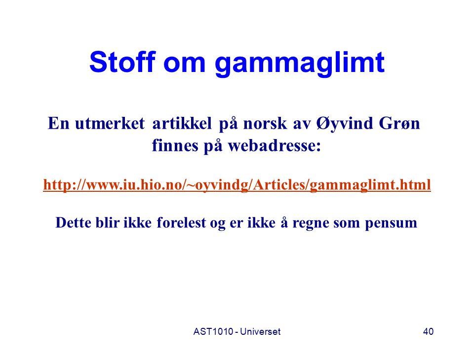 Stoff om gammaglimt En utmerket artikkel på norsk av Øyvind Grøn