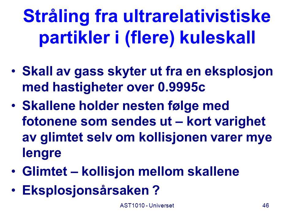Stråling fra ultrarelativistiske partikler i (flere) kuleskall