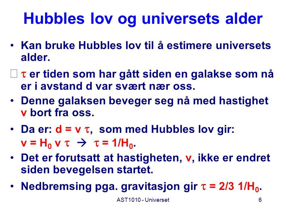 Hubbles lov og universets alder
