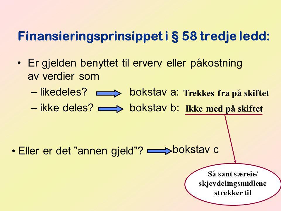 Finansieringsprinsippet i § 58 tredje ledd:
