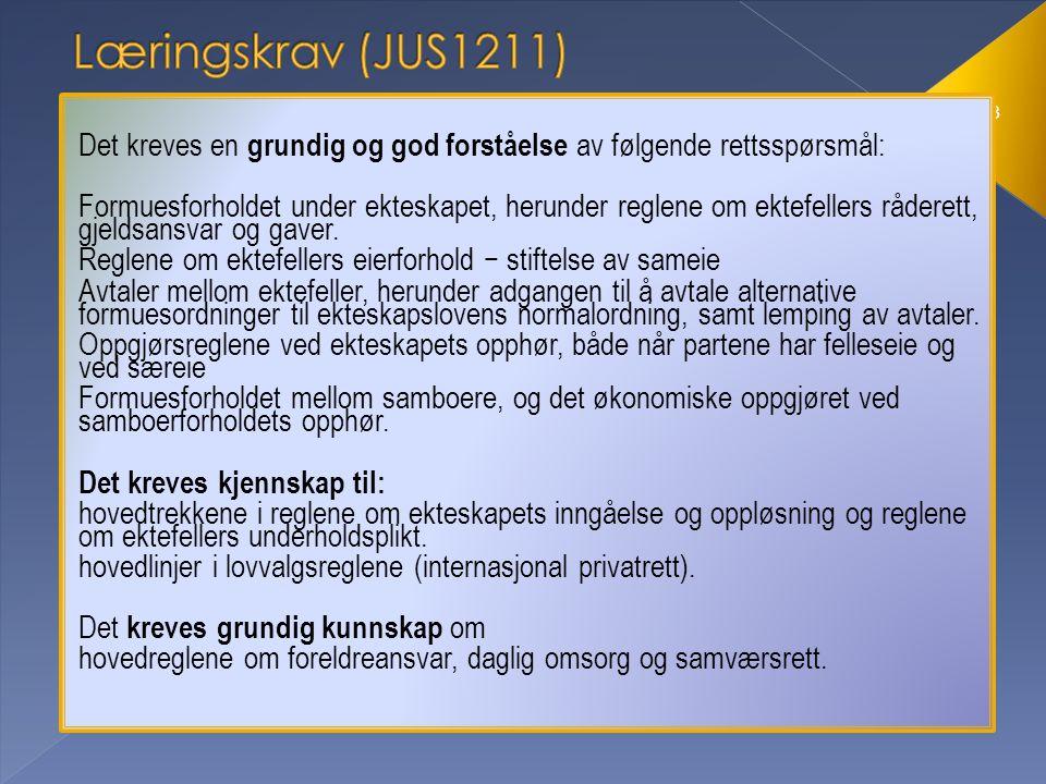 Læringskrav (JUS1211) Det kreves en grundig og god forståelse av følgende rettsspørsmål: