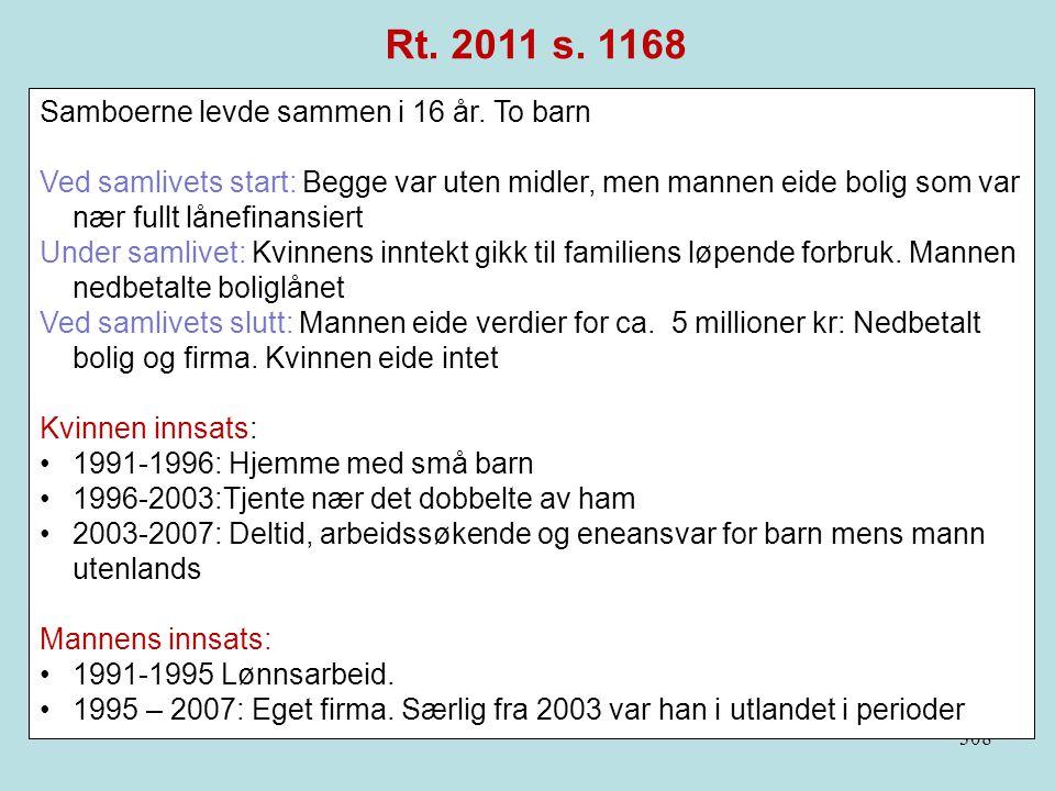Rt. 2011 s. 1168 Samboerne levde sammen i 16 år. To barn