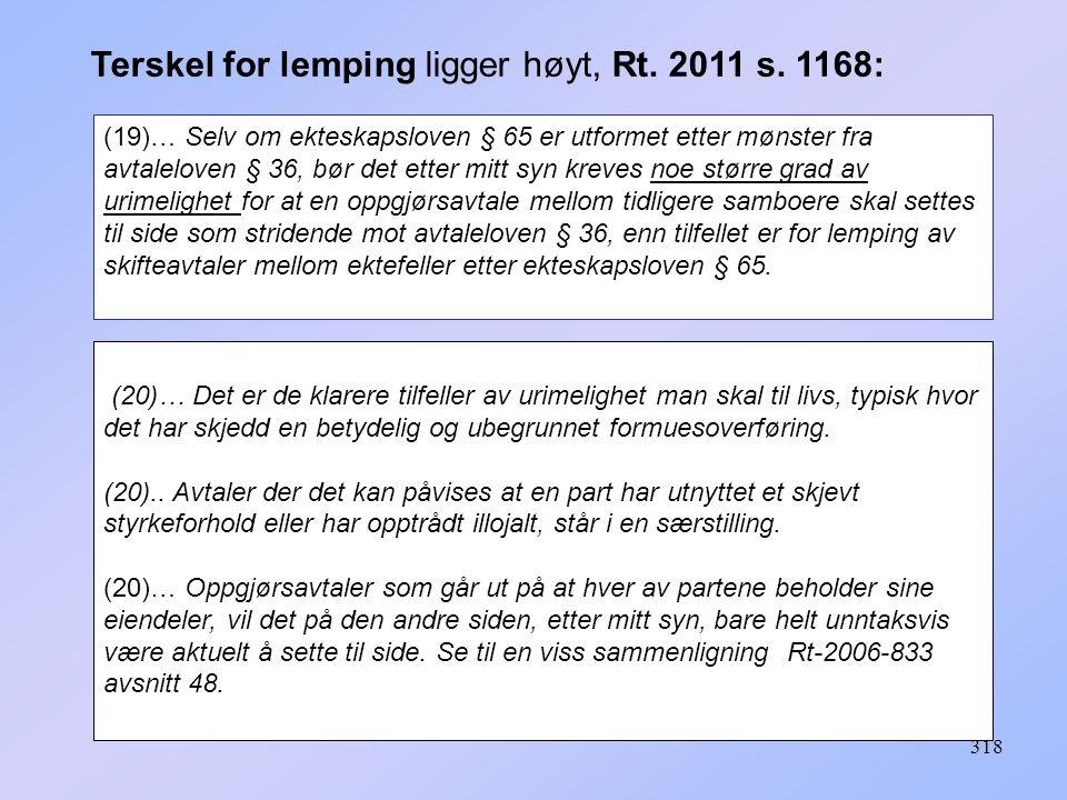 Terskel for lemping ligger høyt, Rt. 2011 s. 1168: