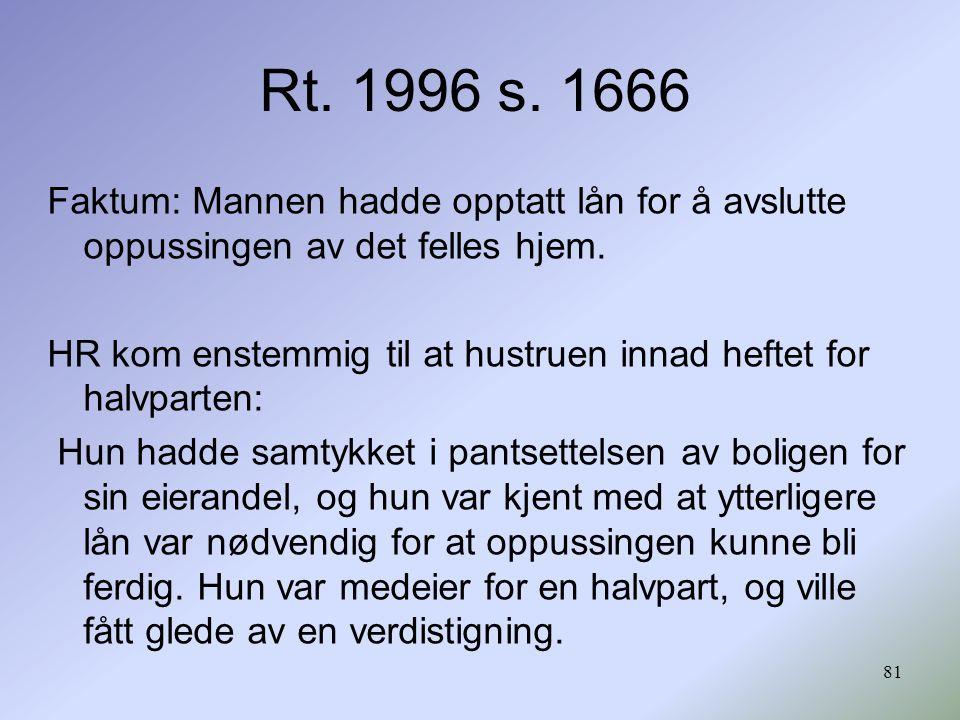 Rt. 1996 s. 1666 Faktum: Mannen hadde opptatt lån for å avslutte oppussingen av det felles hjem.
