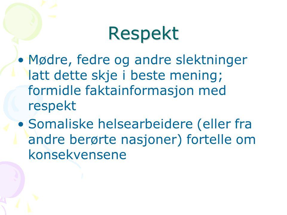 Respekt Mødre, fedre og andre slektninger latt dette skje i beste mening; formidle faktainformasjon med respekt.