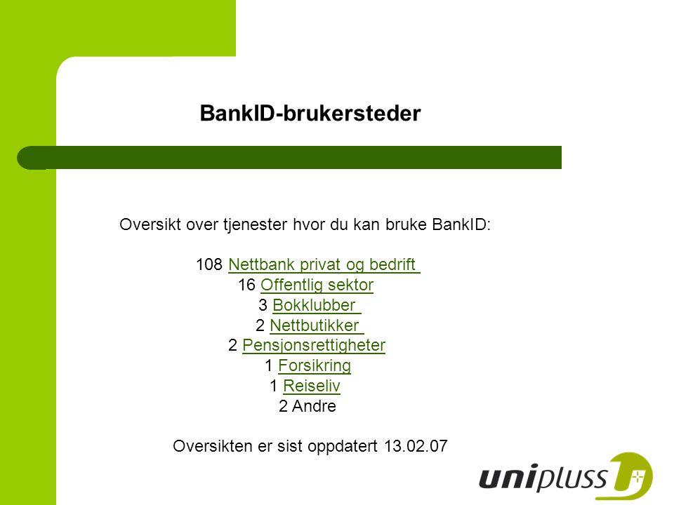 BankID-brukersteder Oversikt over tjenester hvor du kan bruke BankID: