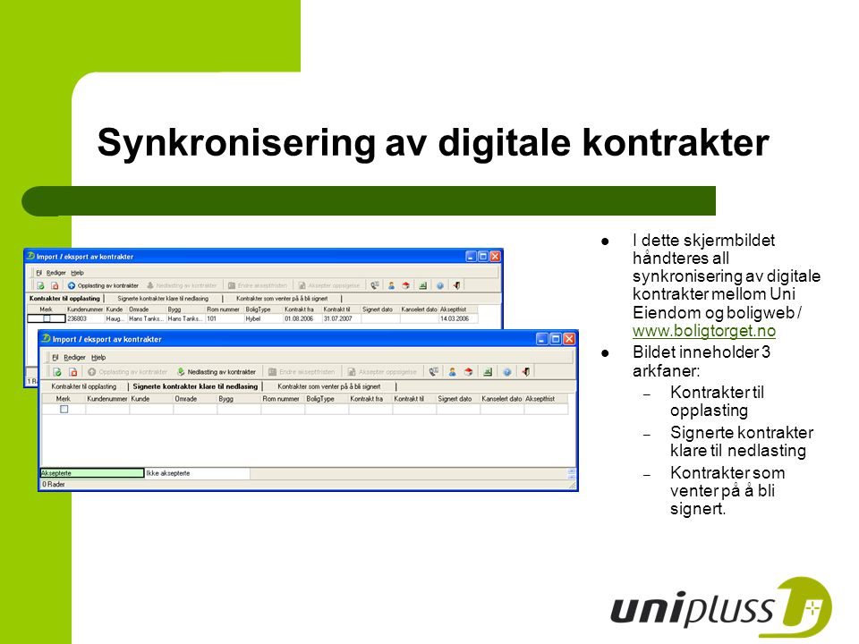 Synkronisering av digitale kontrakter