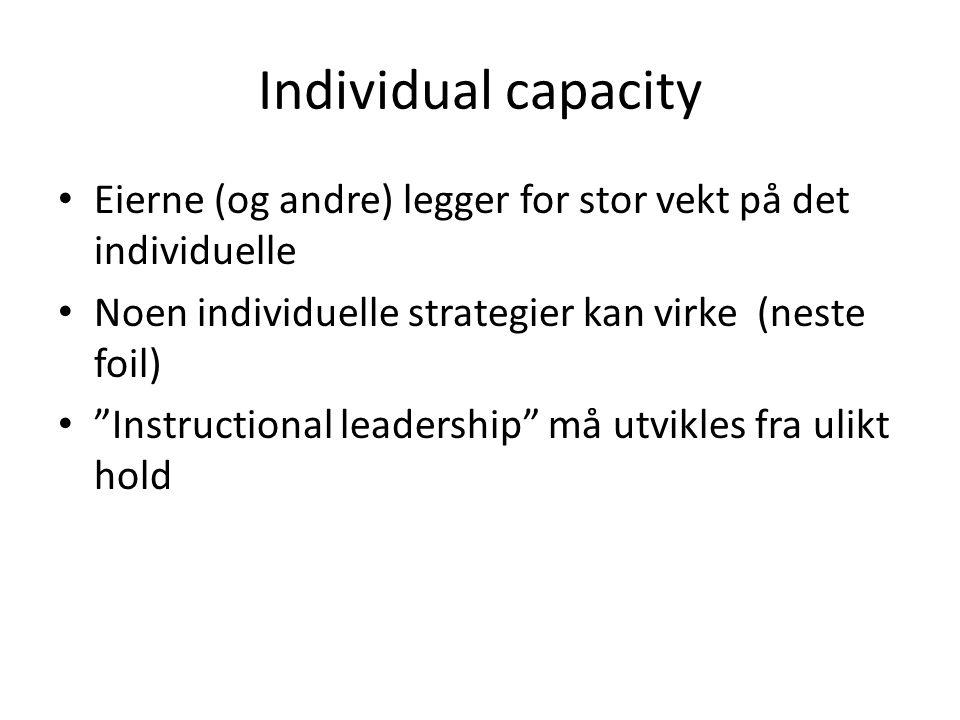 Individual capacity Eierne (og andre) legger for stor vekt på det individuelle. Noen individuelle strategier kan virke (neste foil)