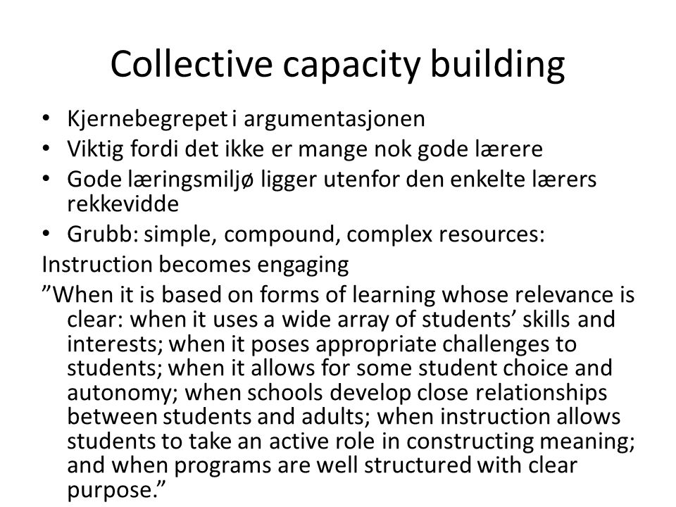 Collective capacity building