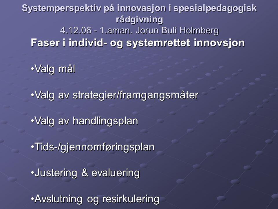 Faser i individ- og systemrettet innovsjon Valg mål