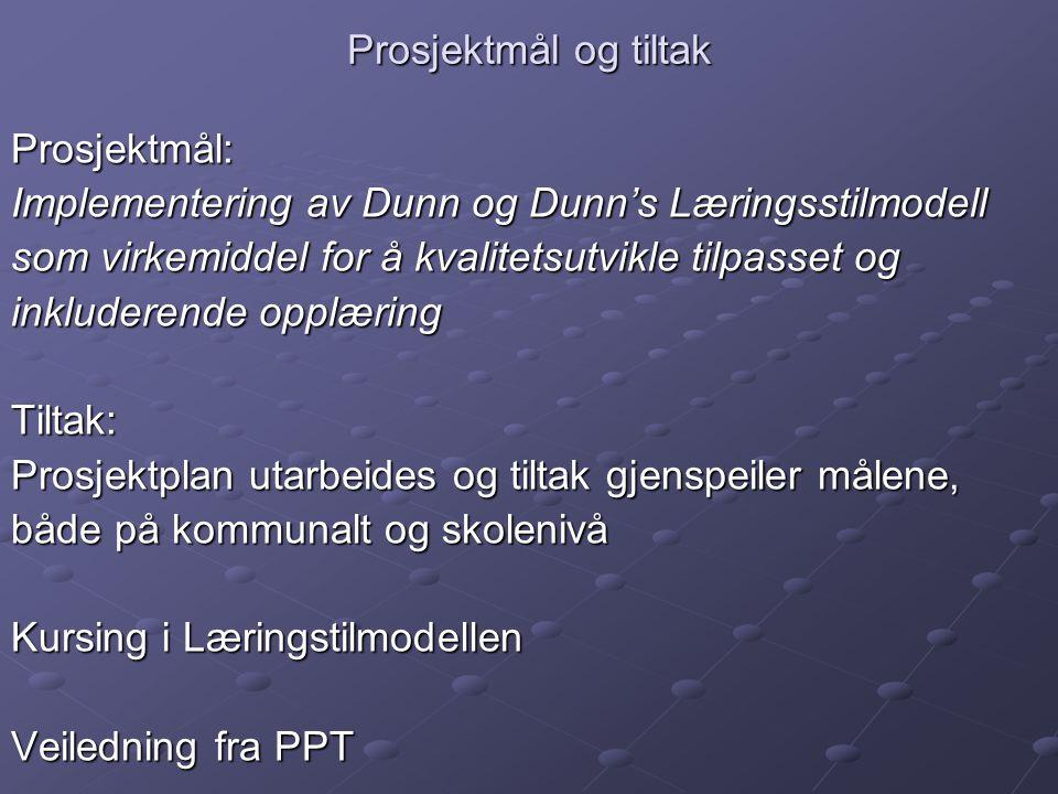 Prosjektmål og tiltak Prosjektmål: Implementering av Dunn og Dunn's Læringsstilmodell. som virkemiddel for å kvalitetsutvikle tilpasset og.