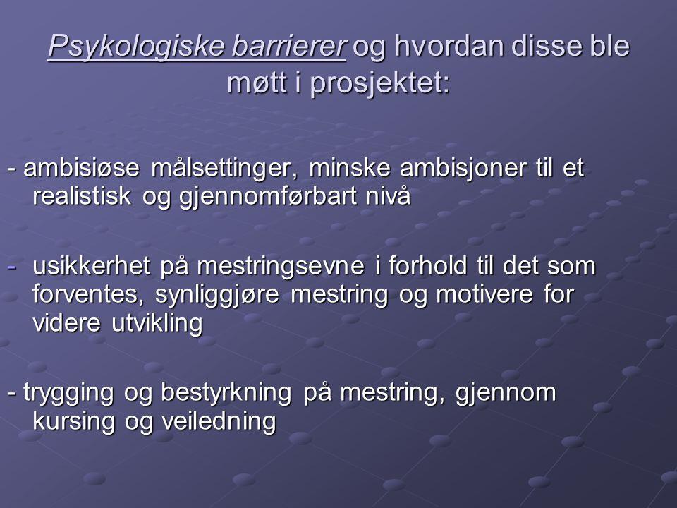 Psykologiske barrierer og hvordan disse ble møtt i prosjektet: