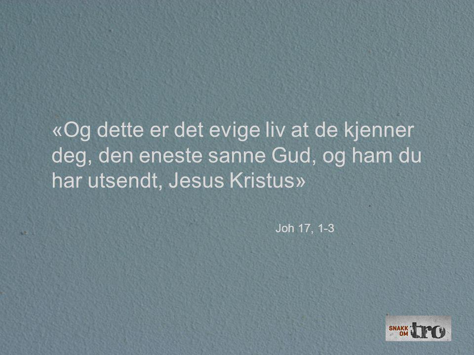 «Og dette er det evige liv at de kjenner deg, den eneste sanne Gud, og ham du har utsendt, Jesus Kristus»