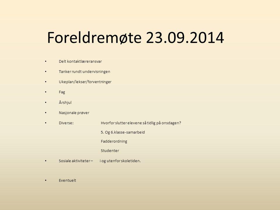 Foreldremøte 23.09.2014 Delt kontaktlæreransvar