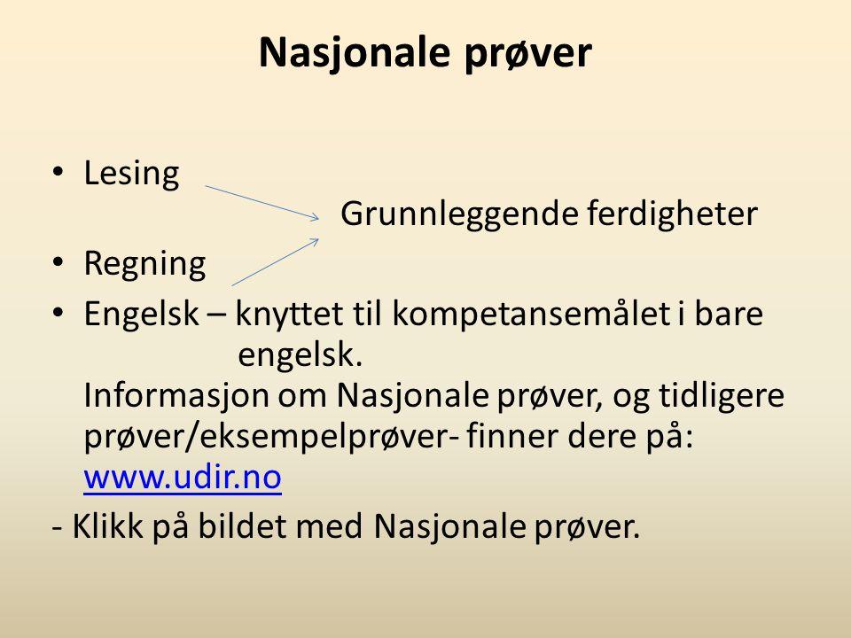Nasjonale prøver Lesing Grunnleggende ferdigheter Regning