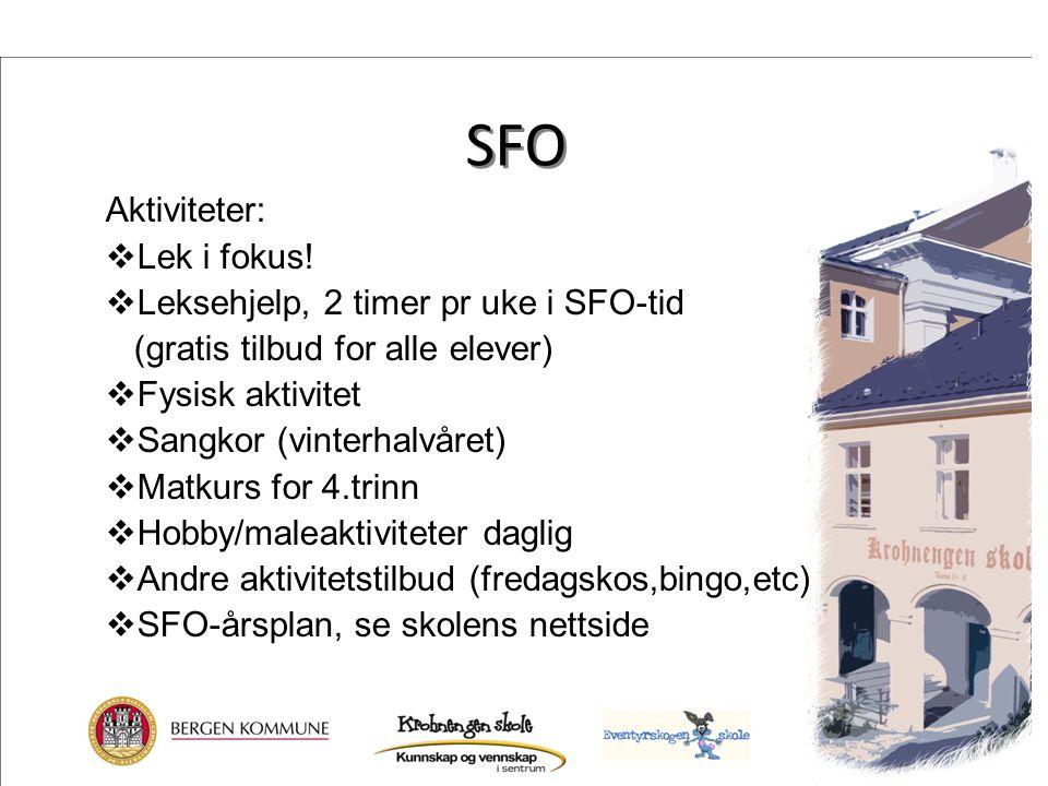SFO Aktiviteter: Lek i fokus! Leksehjelp, 2 timer pr uke i SFO-tid