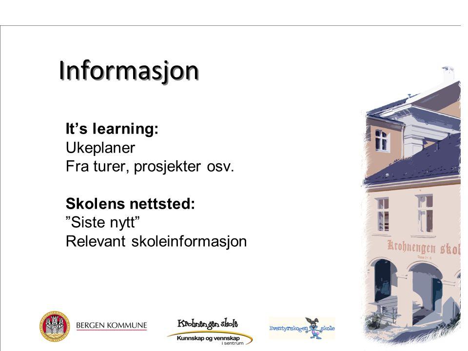Informasjon It's learning: Ukeplaner Fra turer, prosjekter osv.