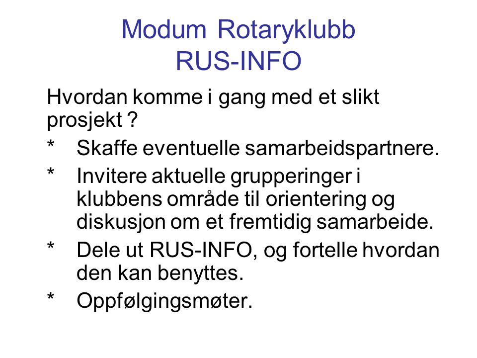 Modum Rotaryklubb RUS-INFO