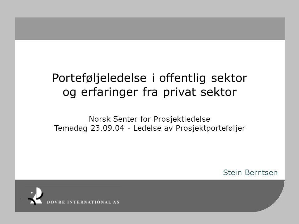 Porteføljeledelse i offentlig sektor og erfaringer fra privat sektor Norsk Senter for Prosjektledelse Temadag 23.09.04 - Ledelse av Prosjektporteføljer