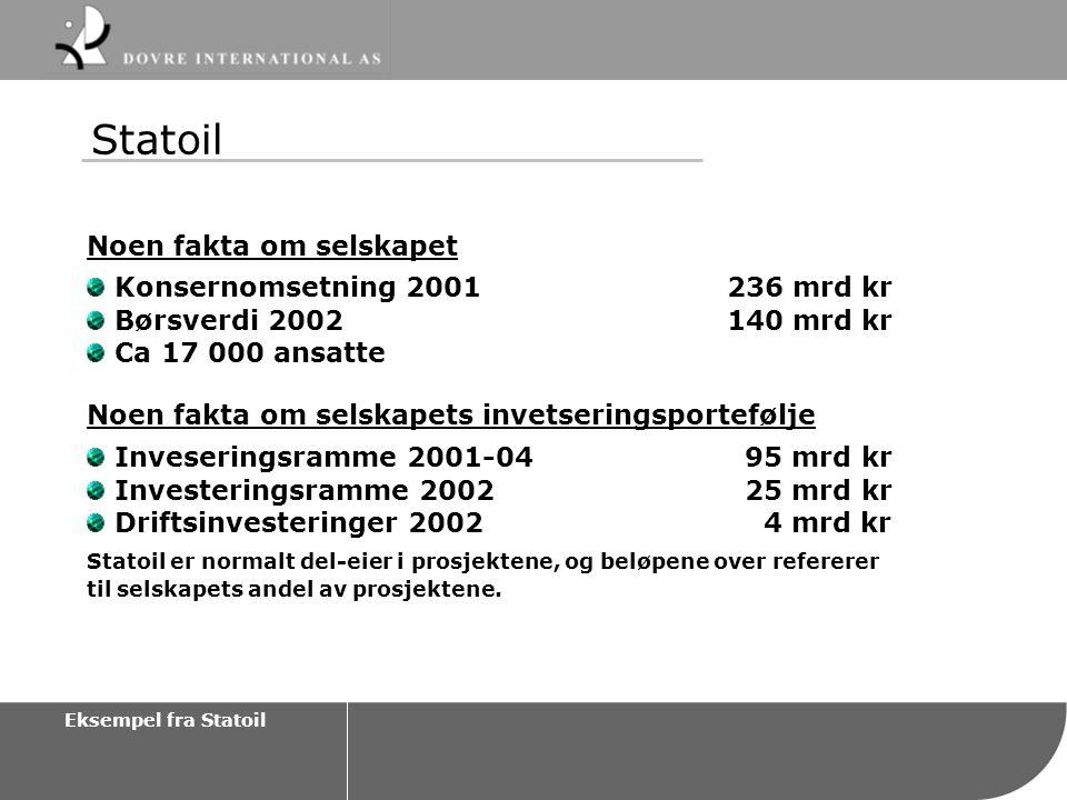 Statoil Noen fakta om selskapet Konsernomsetning 2001 236 mrd kr