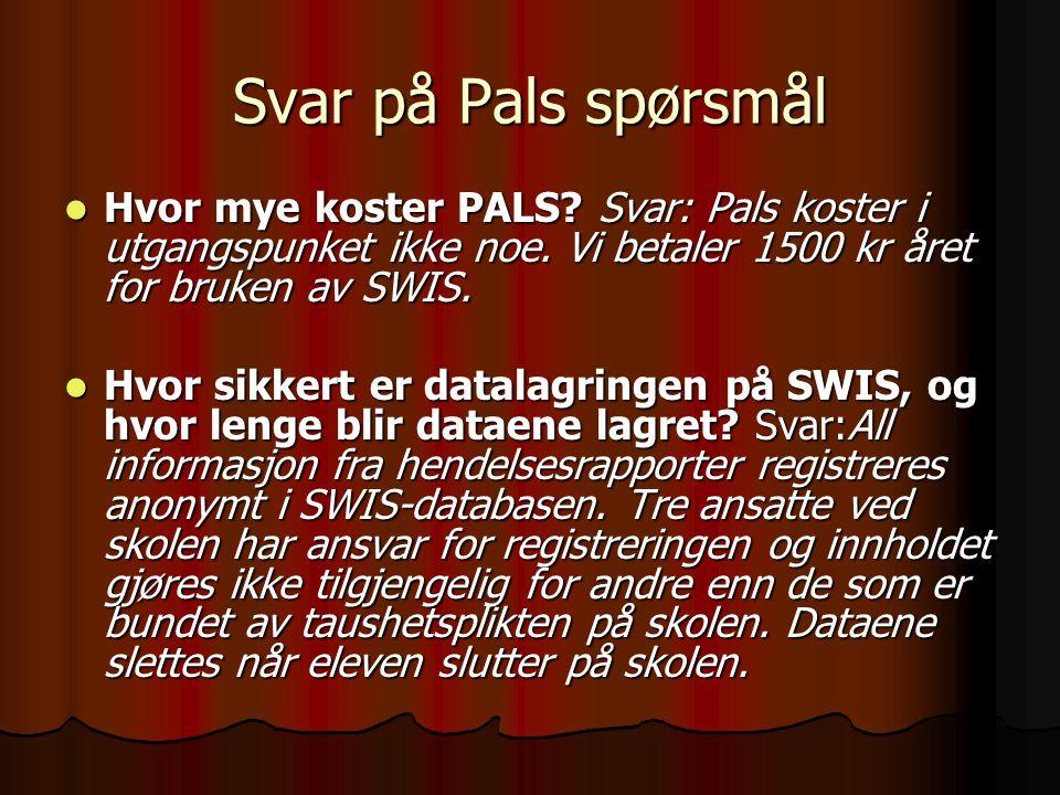 Svar på Pals spørsmål Hvor mye koster PALS Svar: Pals koster i utgangspunket ikke noe. Vi betaler 1500 kr året for bruken av SWIS.